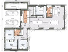 House Layout Plans, House Layouts, House Plans, Interior Architecture, Interior And Exterior, House Drawing, House Blueprints, Modern House Design, Planer