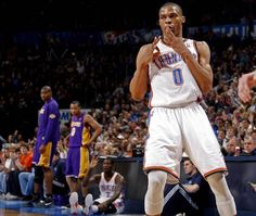 Westbrook celebrates after a basket against the Lakers! 02-23-2012