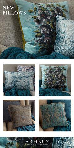 True blue in an assortment accent pillows. New @arhaus