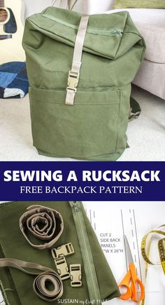 Modern-day Inside Style In Your Laundry Space Enjoy This Free Backpack Pattern With How-To Instructions For Sewing A Rucksack Using Durable, Weather-Resistant 100 Cotton Canvas. Bag Pattern Free, Bag Patterns To Sew, Sewing Patterns Free, Free Sewing, Sewing Tutorials, Sewing Projects, Bag Tutorials, Tote Pattern, Leather Backpack Pattern