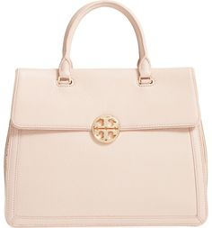 Gold gussets add striking modern style to this structured Tory Burch satchel completed with a gleaming chain strap and polished logo medallion.