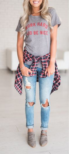 #fall #outfits women's gray printed T-shirt and distressed blue jeans