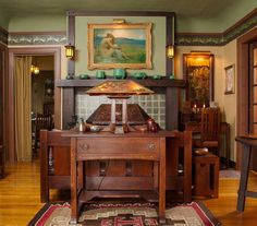 "Den/living room in a 1916 Aladdin kit house (""The Rossley"") — Arts & Crafts Homes and the Revival — Photos by Gridley + Graves"