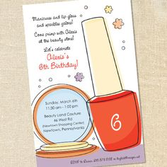 Girl's Pedicure Spa Party Invitations for Birthdays & Primping Parties by Sweet Wishes Stationery