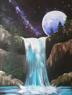 Waterfall Painting - Step By Step Painting Tutorial - For Beginners - Sieglind Elinger - Waterfall Painting - Step By Step Painting Tutorial - For Beginners How To Paint Galaxy Falls - Step By Step Painting - Canvas Painting Tutorials, Easy Canvas Painting, Moon Painting, Galaxy Painting, Painting Techniques, Canvas Art, Galaxy Art, Painting Steps, Night Sky Painting
