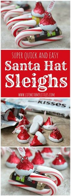 These easy candy Santa Hat Sleighs are perfect for neighbor gifts, teachers, or anyone! And they are so easy that little kids can help! What a simple DIY Christmas craft for kids! diy and crafts ideas Christmas Candy Crafts, Christmas Snacks, Noel Christmas, Christmas Activities, Christmas Goodies, Homemade Christmas, Diy Christmas Gifts, Holiday Crafts, Christmas Decorations