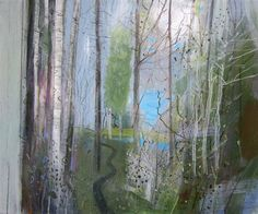 Fiona Millais: the path to the top pond Contemporary Landscape, Abstract Landscape, Landscape Paintings, Abstract Trees, Tree Paintings, Landscapes, Light Of Life, Modern Landscaping, My Canvas