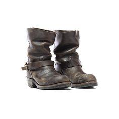 Blackbird Vintage 70's Steel Toe Engineer Boots in Black (340 AUD) ❤ liked on…
