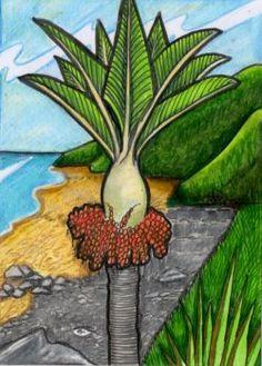 nikau palm landscape - Google Search Mural Ideas, Art Ideas, New Zealand Art, Nz Art, Maori Art, Kiwiana, Iron Art, Mosaic Ideas, Stained Glass Projects