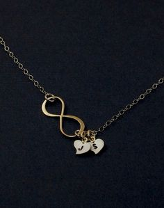 Personalized Gold Infinity Necklace. Monogrammed by MenuetDesigns