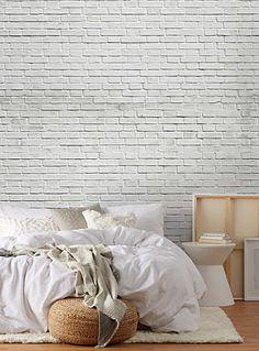 White-brick wallpaper.