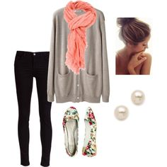 """Autumn Falling"" on Polyvore Long grey button down front cardigan with pockets $149.00 lagarconne.com, Black skinny jeans from J Brand $195.00 farfetch.com, pink scarf, floral flats $3.00 wetseal.com and pearl stud earrings. Cute and comfy winter/spring outfit idea."