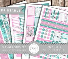 Printable Planner Stickers VERTICAL Planner Floral Boxes Pink Grey Turquoise Erin Condren Weekly Kit Glam Planner Printable VS108