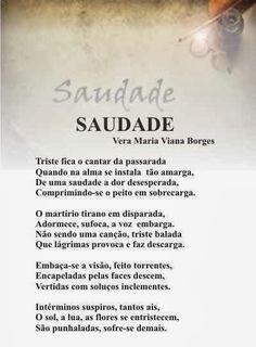 """Vera Maria Viana Borges: SAUDADE (Do Livro """"TRILHAS POÉTICAS"""" - Vera Maria ..."""