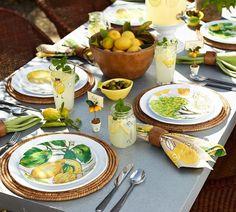 Patio Pottery Barn Lemon Tablescape. & Table Decor: Amalfi Inspired Italian Pottery Tablescape | Pinterest ...