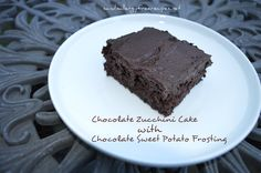 Chocolate Zucchini Cake/ Muffins/ Loaf w Sweet Potato Frosting- Gluten Free, Dairy Free, Vegan, Egg Free, Refined Sugar Free