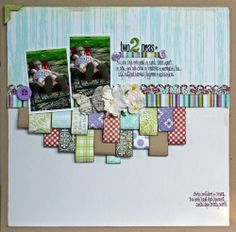 I like the paper scraps layered...would do as border all the way across.