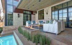 Light ashy wood and dark warm wood meeting.   Cornerstone Architects, Austin. Cat Mountain Residence