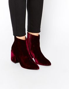ASOS RADIO STAR Pointed Velvet Ankle Boots $81.00