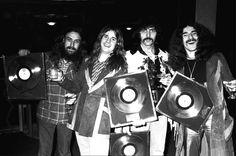 Black Sabbath Receiving album plaques 1973 Black and white