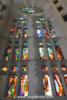 Stained glass window in La Sagrada Familia, Barcelona, Catalonia, Spain.