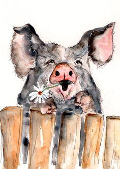 pigs art - Pig Illustration Painting Pig Watercolor Art Print set in mount Pig, farm, animal,mode Animal Paintings, Animal Drawings, Art Drawings, Farm Paintings, Country Paintings, Animals Watercolor, Watercolor Art, Painting & Drawing, Pig Illustration