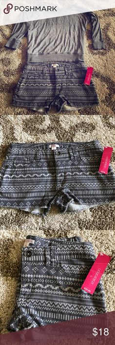 NWT Xhilaration Tribal Shorts NEW! Super fun and perfect for festival season! Charcoal grey and light grey color; very soft material.  Frayed bottoms for a fun look! These shorts would look absolutely amazing with a crop top or a ribbed tank! Xhilaration Shorts