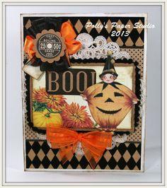 Pumpkin Girl Vintage Inspired Halloween Greeting Card Handmade