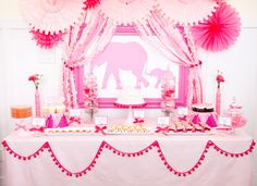 Pink Elephant Baby Shower full of ideas via Kara's Party Ideas KarasPartyIdeas.com THE place for ALL things PARTY!