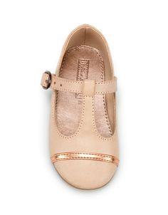 peach t-strap shoes