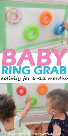 Baby Ring Grab Sticky Wall Activity Baby Ring Grab – HAPPY TODDLER PLAYTIME Sticky walls are made for baby activities. Baby Ring Grab is an easy sitting up activity for babies 6 to 12 months old using contact paper! - Baby Development Tips Infant Sensory Activities, Baby Sensory Play, Toddler Learning Activities, Games For Toddlers, 9 Month Old Baby Activities, Sensory For Babies, Baby Sensory Bags, Kids Learning, Baby Activites
