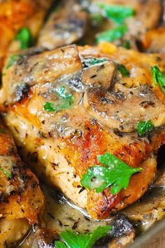 creamy mushrooms with baked chicken thighs, easy weeknight dinner recipe