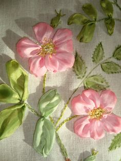 Pretty in pink Ribbon Embroidery, Embroidery Designs, Ribbon Work, Pretty In Pink, Irises, Needlepoint, Flowers, Bow