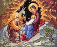 nativity of christ orthodox icon - Religious Images, Religious Icons, Religious Art, Byzantine Art, Byzantine Icons, Biblical Art, Holy Mary, Madonna And Child, Holy Family