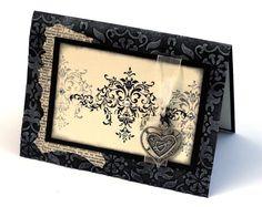 Damask Heart Note card Birthday Card Black Cream by ThePurpleTable
