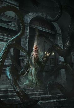 This dark fantasy / horror concept art from nicolas ferrand (prolific artist of sci fi / mech / gothic pieces), features what appears to be one of Cthulhu Art, Call Of Cthulhu Rpg, Lovecraft Cthulhu, Hp Lovecraft, Arte Horror, Horror Art, Sci Fi Horror, High Fantasy, Dark Fantasy Art