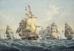 William Joy - A British Squadron under Full Sail with Porpoises