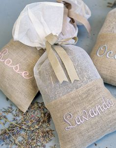 Sachets-Love the burlap  Use lavender and rose-scented sachets to add a floral fragrance to any room.