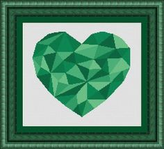 MOSAIC heart green/ mosaique coeur- Counted cross stitch pattern /grille point de croix ,Cross Stitch PDF, Instant download , free shipping on Etsy, $6.09 CAD
