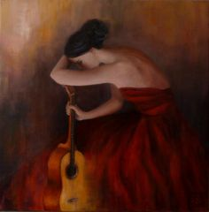 ARTFINDER: Cante Jondo by Katia Bellini - oil on canvas (2014). Size: 40 x 40 x 1.8 cm  Signed front/back. Edges 1.8 cm deep, painted dark red, no need to frame. Varnished. Made with highest quality...
