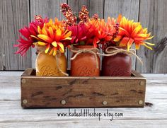 Fall Rustic Planter Box with 3 Painted Mason Jars. Fall Decor. Rustic Home Decor. Thanksgiving. Pumpkin. Burnt Orange. Table Centerpiece.