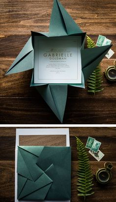 Origami Wedding Invitations Diy 20 Ideas For 2019 Origami Bat, Origami Paper Art, Paper Crafts, Diy Origami Cards, Origami Gifts, Origami Ideas, Foam Crafts, Paper Toys, Origami Wedding Invitations