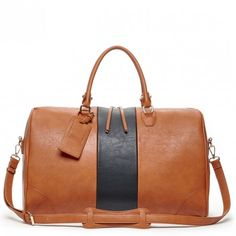 Cognac Color Block Weekender   Sole Society Robin   Free Shipping on Orders $50+
