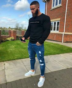 Mens Style Discover Mens Fashion Skinny Jeans Super Spray on Lightweight Cotton Ankle Tight Fit Ripped Repaired Black Blue Grey Plus Size Light Blue Ripped Jeans, Sweet Jeans, Stylish Mens Outfits, Swag Outfits Men, Simple Outfits, Suit Fashion, Black Men Casual Fashion, Trendy Mens Fashion, Fashion Belts