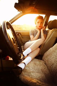 The car, shoes, make-up, sunset. There's so many things I like about this photo. Even those socks Model: Marzena Janas Photo: Milena Jankowiak Photography
