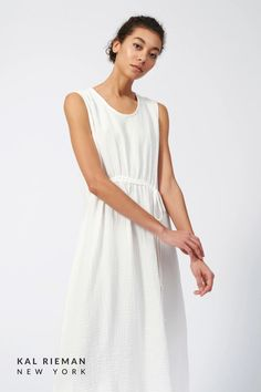 This dreamy dress with an asymmetrical gather detail is ideal for the long days of Summer. Made in the softest Cotton Gauze, this 100% cotton dress works with sneakers, sandals, or flip-flops. Our newest cotton dress for summer si sure to be your go to for warm days ahead. Pack in an overnight back for quick beach coverup, or pair with a denim jacket for a cool summer look. Shop more from the summer collection now at KAL RIEMAN. Kimono Dress, Tank Dress, Linen Dresses, Cotton Dresses, European Fashion, Timeless Fashion, Travel Outfit Summer, Classic Wardrobe