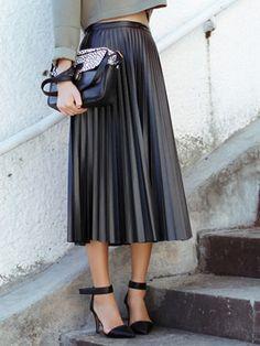 Black High Waist PU Pleat Midi Skirt | Choies