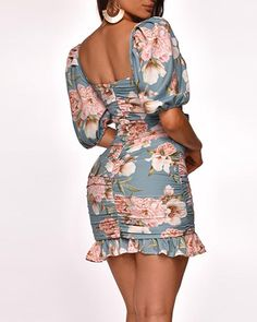Floral Square Neck Ruffle Dress Online. Discover hottest trend fashion at chicme.com Men Wearing Dresses, Womens Fashion Online, Ruffle Dress, Formal Wear, Sleeve Styles, Amazing Women, Dresses Online, Cold Shoulder Dress, Floral