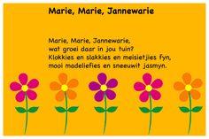 Marie, Marie, Jannewarie - Kinderrympies in Afrikaans School Songs, Afrikaans, Kids And Parenting, Education, Words, Colouring, Classroom, Disney, Fun