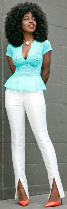 Stretch Lace Peplum Blouse + White Front Slit Pants // Fashion Look by Style Pantry